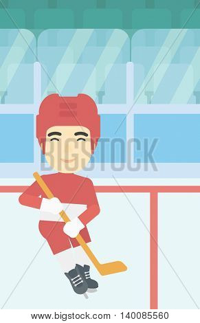 An asian ice hockey player with the beard skating on ice rink. Professional ice hockey player with a stick. Sportsman playing ice hockey. Vector flat design illustration. Vertical layout.