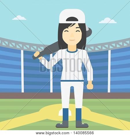 An asian young female baseball player standing on a baseball stadium. Female professional baseball player holding a bat on baseball field. Vector flat design illustration. Square layout.