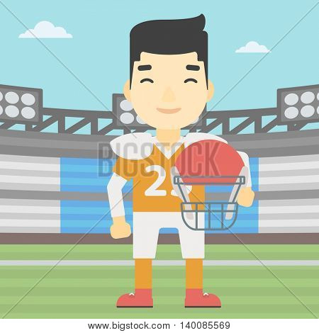 An asian young rugby player with the beard holding ball and helmet in hands. Male rugby player in uniform standing on rugby stadium. Vector flat design illustration. Square layout.