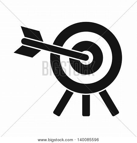 Arrow hit the target icon in simple style isolated on white background