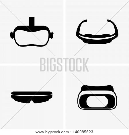 Set of four virtual glasses on light grey
