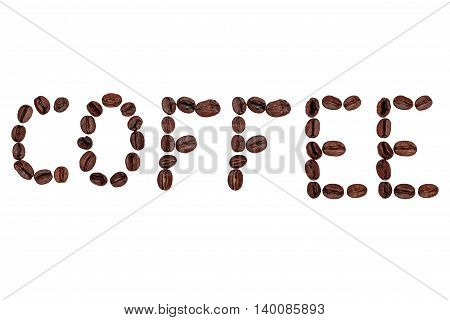 inscription of coffee from coffee beans isolated text