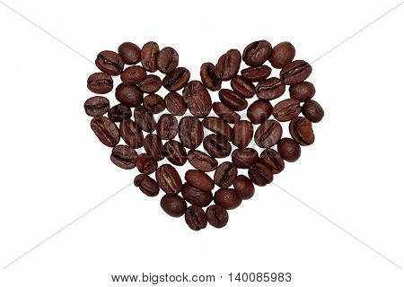 heart from coffee beans on isolated background