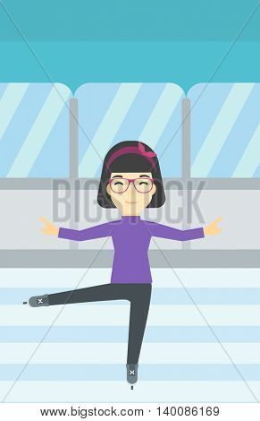 An asian female figure skater performing on indoor ice skating rink. Professional young female figure skater dancing. Vector flat design illustration. Vertical layout.