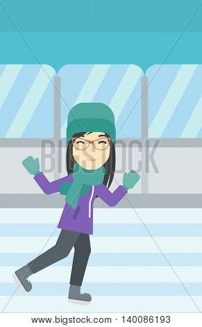 An asian young woman ice skating on indoor ice skating rink. Sport and leisure concept. Vector flat design illustration. Vertical layout.