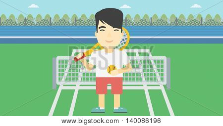 An asian tennis player standing on the tennis court. Male tennis player holding a tennis racket and a ball. Man playing tennis. Vector flat design illustration. Horizontal layout.