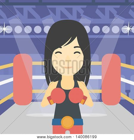 An asian sportswoman in boxing gloves. Young professional female boxer standing in the boxing ring. Vector flat design illustration. Square layout.
