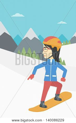 An asian sportswoman snowboarding on the background of snow capped mountain. Woman snowboarding in the mountains. Snowboarder in action. Vector flat design illustration. Vertical layout.