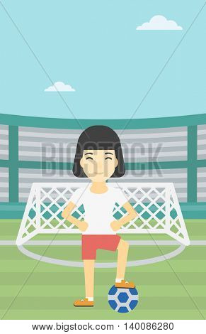 An asian sportswoman standing with football ball on the football stadium. Young professional football player with a soccer ball on the field. Vector flat design illustration. Vertical layout.