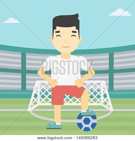 An asian sportsman standing with football ball on the football stadium. Young professional football player with a soccer ball on the field. Vector flat design illustration. Square layout.