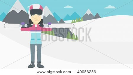 An asian woman carrying skis on her shoulders on the background of snow capped mountains. Vector flat design illustration. Horizontal layout.