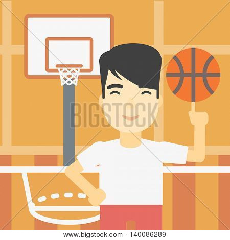 An asian sportsman spinning basketball ball on his finger. Young professional basketball player standing on the basketball court. Vector flat design illustration. Square layout.
