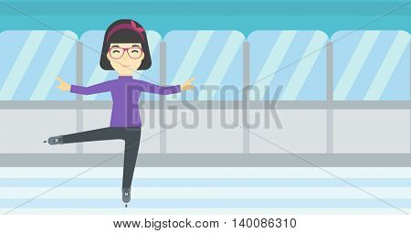 An asian female figure skater performing on indoor ice skating rink. Professional young female figure skater dancing. Vector flat design illustration. Horizontal layout.