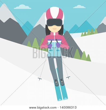 An asian woman skiing on the background of snow capped mountain. Skier skiing downhill in mountains. Female skier on downhill slope. Vector flat design illustration. Square layout.