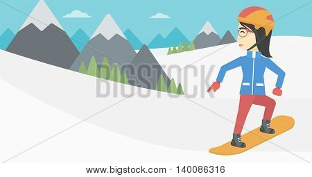 An asian sportswoman snowboarding on the background of snow capped mountain. Woman snowboarding in the mountains. Snowboarder in action. Vector flat design illustration. Horizontal layout.