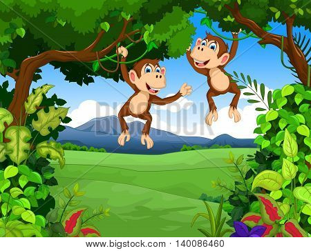 cute two monkey cartoon with landscape background