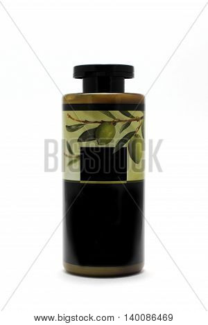 a bottle of hair conditioner with olive oil isolated