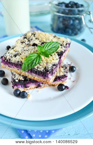 Homemade blueberry pie with ricotta and shtreyzel