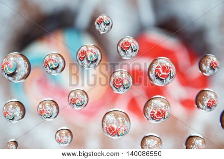Candy Heart Shaped Picture In Water Drops