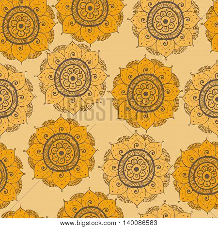 Seamless abstract hand-drawn arabic doddle pattern yellow and brown color. Seamless pattern can be used for pattern fills web page backgroundsurface textures. floral background