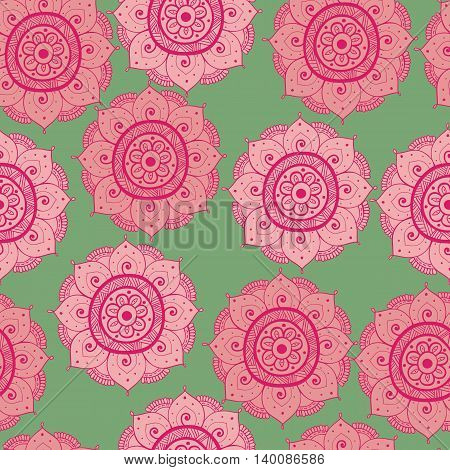 Seamless abstract hand-drawn oriental doddle pattern pink red and green color. Seamless pattern can be used for pattern fills web page backgroundsurface textures. floral background