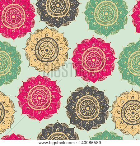 Seamless abstract hand-drawn oriental doddle pattern gray yellowgreen and pink color. Seamless pattern can be used for pattern fills web page backgroundsurface textures. floral background