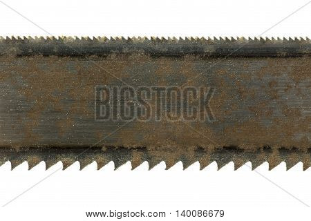 Detail of an old saw blade on a white background