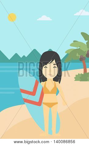An asian female surfer standing with a surfboard on the beach. Female professional surfer with a surf board at the beach. Vector flat design illustration. Vertical layout.