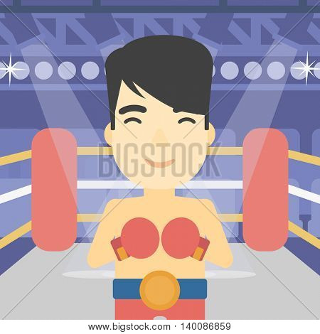 An asian sportsman in boxing gloves. Young professional male boxer standing in the boxing ring. Vector flat design illustration. Square layout.