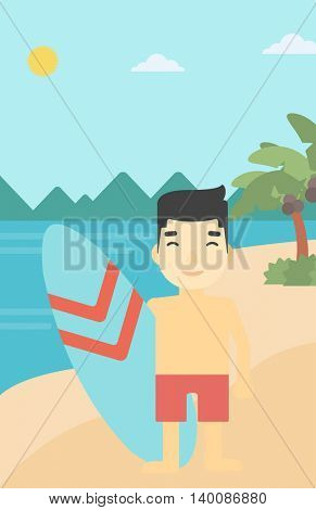 An asian sportsman standing with a surfboard on the beach. Professional surfer with a surf board at the beach. Vector flat design illustration. Vertical layout.