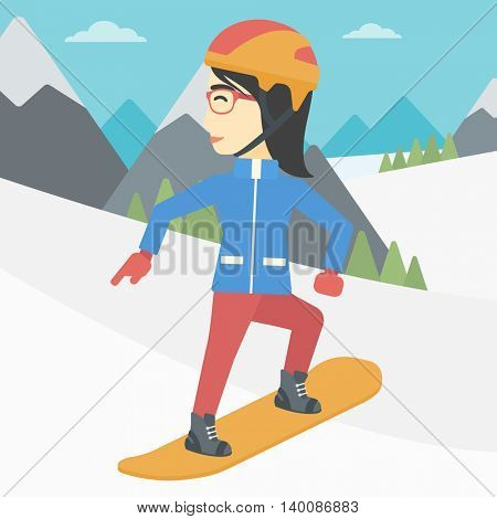 An asian sportswoman snowboarding on the background of snow capped mountain. Woman snowboarding in the mountains. Snowboarder in action. Vector flat design illustration. Square layout.