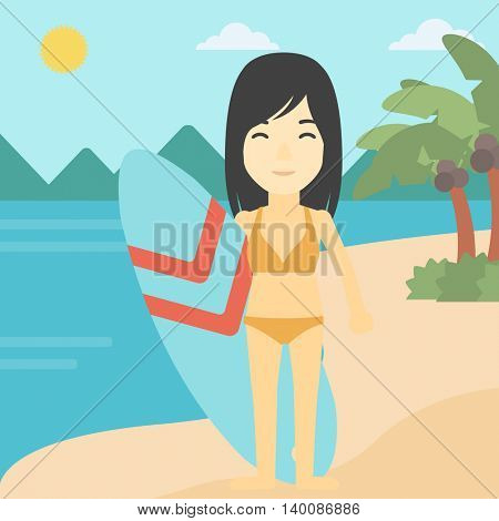 An asian female surfer standing with a surfboard on the beach. Female professional surfer with a surf board at the beach. Vector flat design illustration. Square layout.
