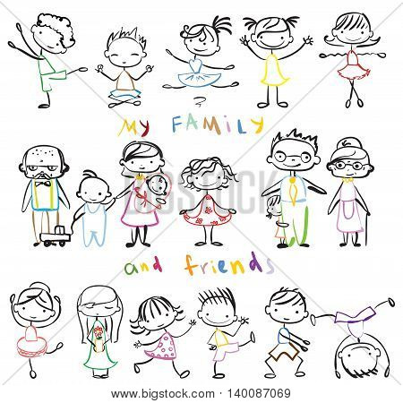 Vector children's doodle of happy family and friends.