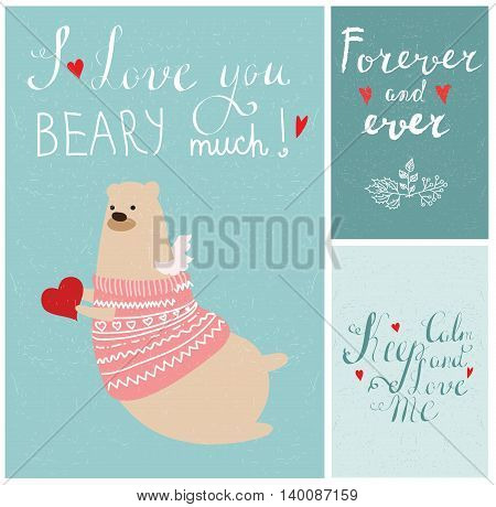 Valentine's greeting cards with cute bear, hearts and floral elements.