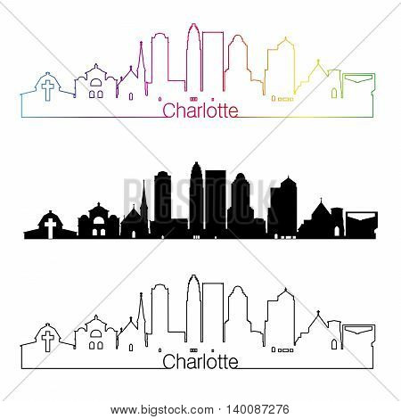 Charlotte skyline linear style with rainbow in editable vector file