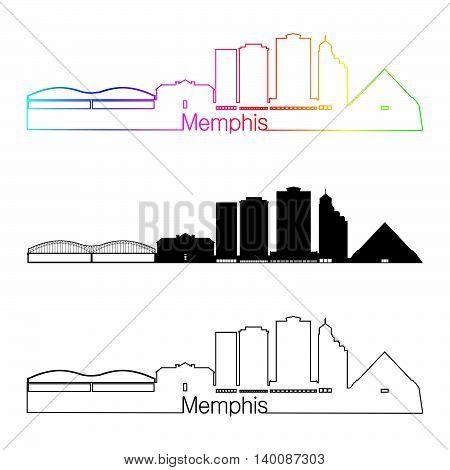 Memphis skyline linear style with rainbow in editable vector file
