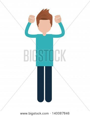 person with gestures of protest isolated icon design, vector illustration  graphic