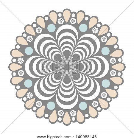 Abstract simple mandala. Decorative ethnic element for design isolated illustration
