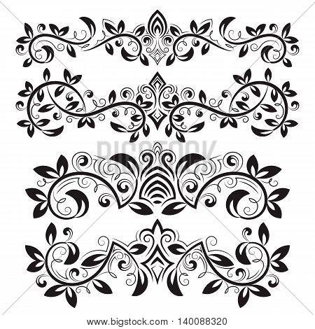 Design ornamental elements and vintage headline decorations set. Floral tattoo in vintage baroque style. Vintage page ornate decorations.