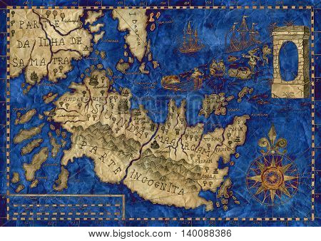 Blue and gold pirate map of tresure island and with sailing ship, hand drawn illustration