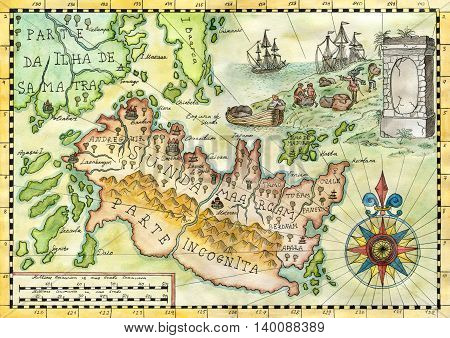 Colorful pirate map with treasure island and sailing ship. Watercolor illustration