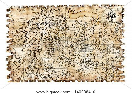 Ancient pirate map with fantasy lands on textured background