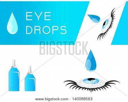 Medical packaging for eye drops. Blue bottles for the treatment.