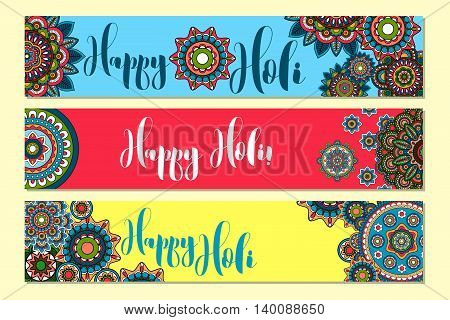 Horizontal banners for Holi Holiday with tribal ornament. Vector illustration