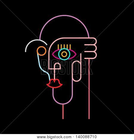 Neon colors on a black background Abstract Portrait vector illustration.