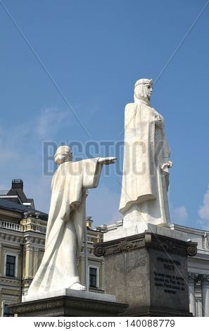 Monument to Russian Princess Olga, St. Apostle Andrew the first-called and equal to the apostles Cyril and Methodius in Kiev.July 26 ,2016 in Kiev, Ukraine