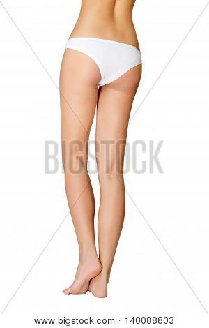 Long pretty woman legs, isolated on white background