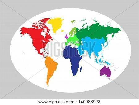 World map planet colored flat design background