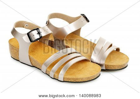 pair of women's sandals isolated on white