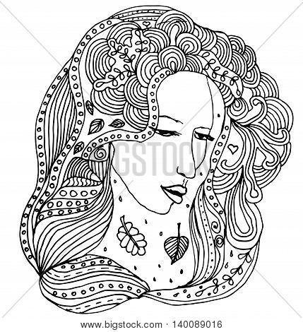 Uncolored vector girl with doodle curls. Can be used as coloring book.